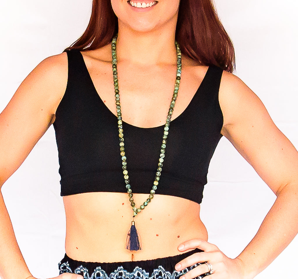 Mala Beads in Green Turquoise-The High Thai-The High Thai-Yoga Pants-Harem Pants-Hippie Clothing-San Diego