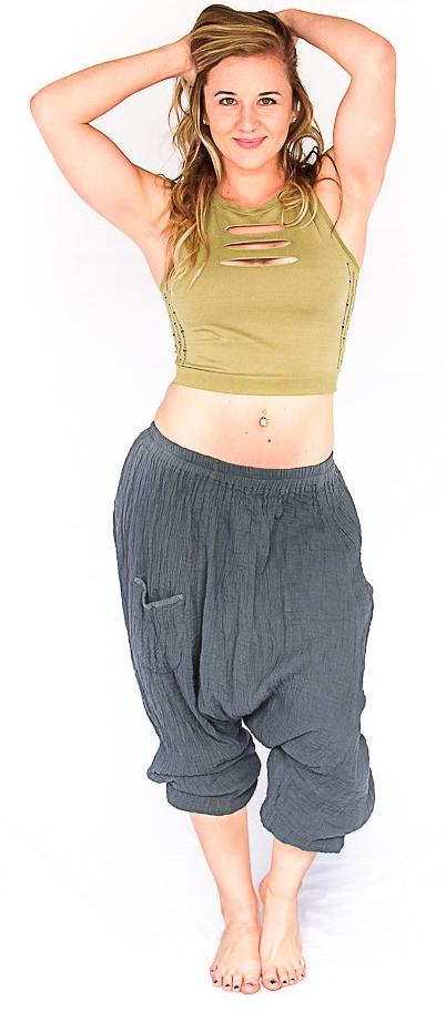 Mid Cut Harem Pants in Grey-The High Thai-The High Thai-Yoga Pants-Harem Pants-Hippie Clothing-San Diego