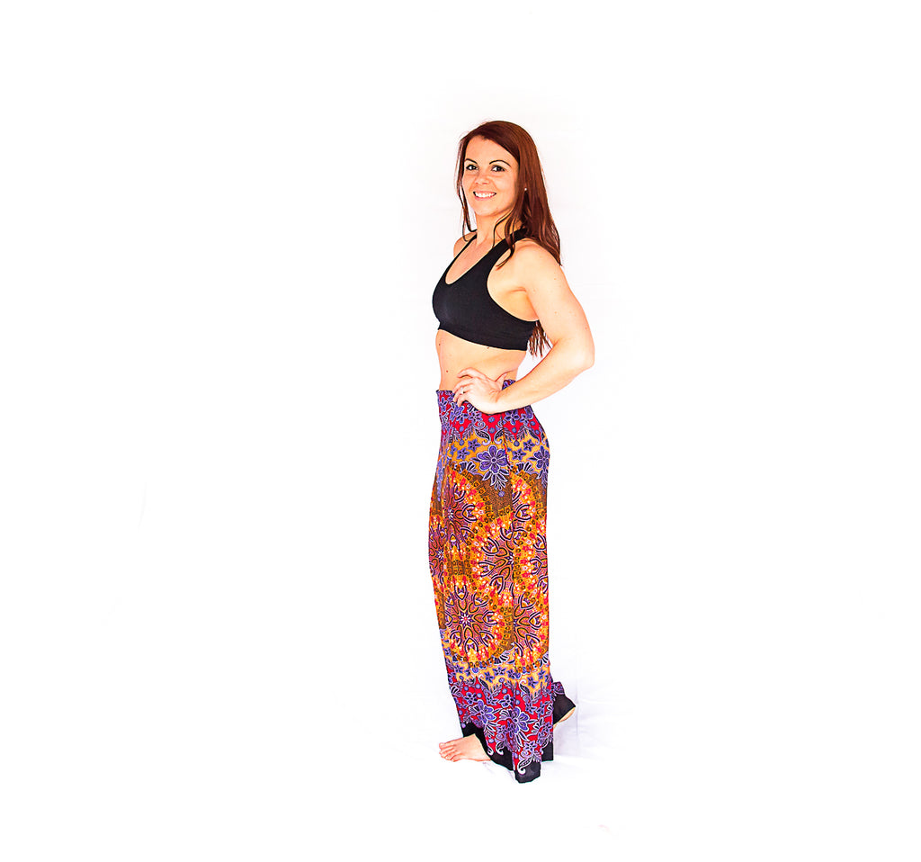 Palazzo Pants in Mandala Sun Burst-The High Thai-The High Thai-Yoga Pants-Harem Pants-Hippie Clothing-San Diego