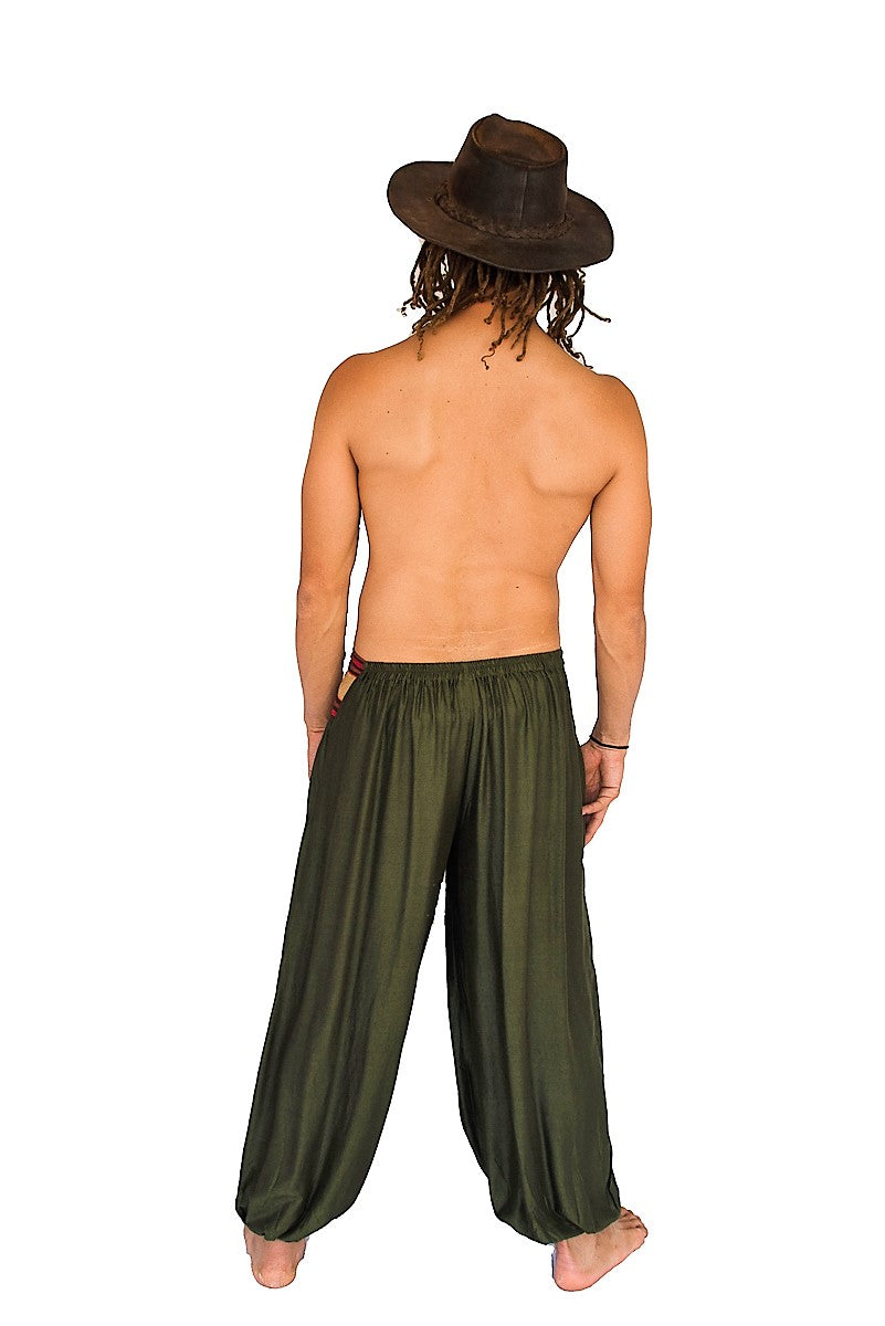 Men's Aladdin Pants in Green-The High Thai-The High Thai-Yoga Pants-Harem Pants-Hippie Clothing-San Diego
