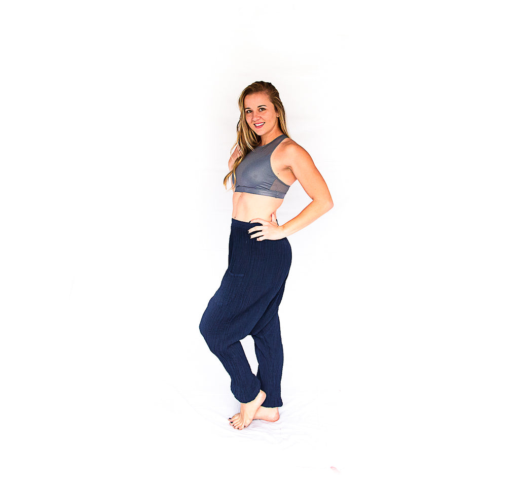 Mid Cut Harem Pants in Navy-The High Thai-The High Thai-Yoga Pants-Harem Pants-Hippie Clothing-San Diego