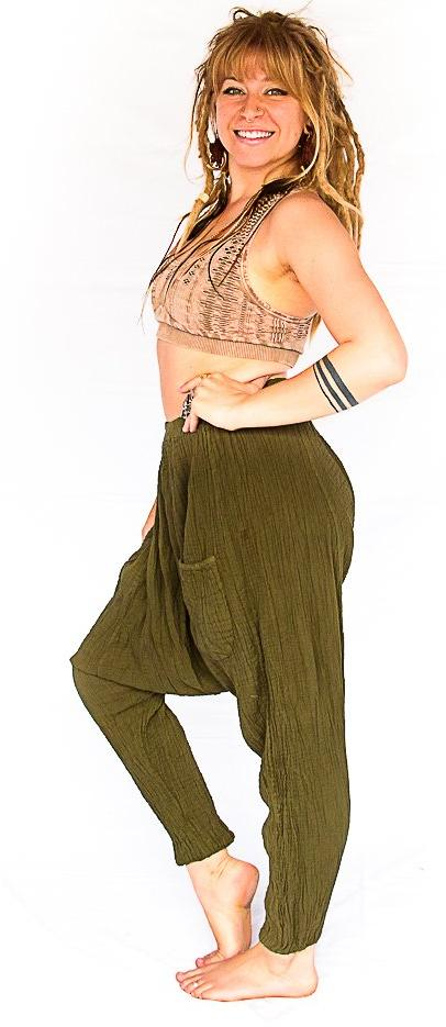 Mid Cut Harem Pants in Olive Green-The High Thai-The High Thai-Yoga Pants-Harem Pants-Hippie Clothing-San Diego