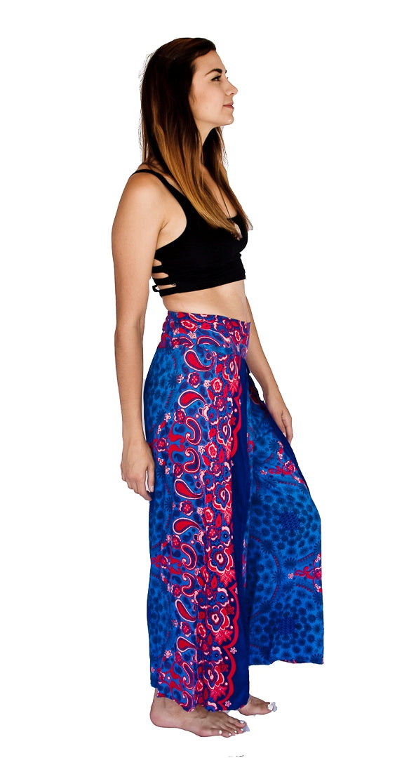 Flower Design Open Leg Pants in Blue-The High Thai-The High Thai-Yoga Pants-Harem Pants-Hippie Clothing-San Diego
