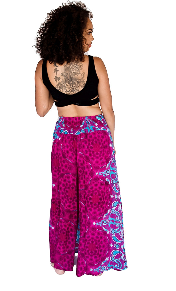Flower Design Open Leg Pants in Pink-The High Thai-The High Thai-Yoga Pants-Harem Pants-Hippie Clothing-San Diego