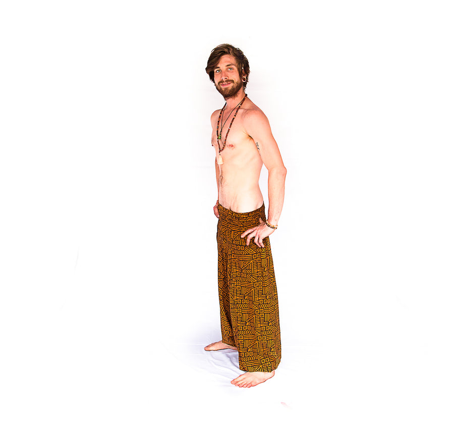 Men's Low Cut Harem Pants in Tribal Brown-The High Thai-The High Thai-Yoga Pants-Harem Pants-Hippie Clothing-San Diego