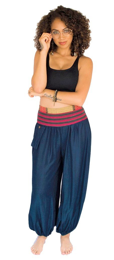 Women's Aladdin Pants in Navy Blue-The High Thai-The High Thai-Yoga Pants-Harem Pants-Hippie Clothing-San Diego