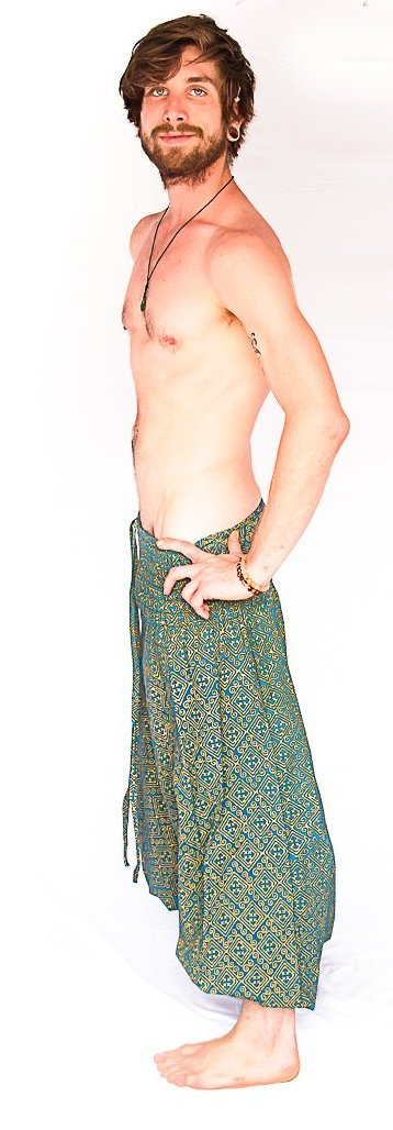 Men's Low Cut Harem Pants in Gold and Turquoise-The High Thai-The High Thai-Yoga Pants-Harem Pants-Hippie Clothing-San Diego