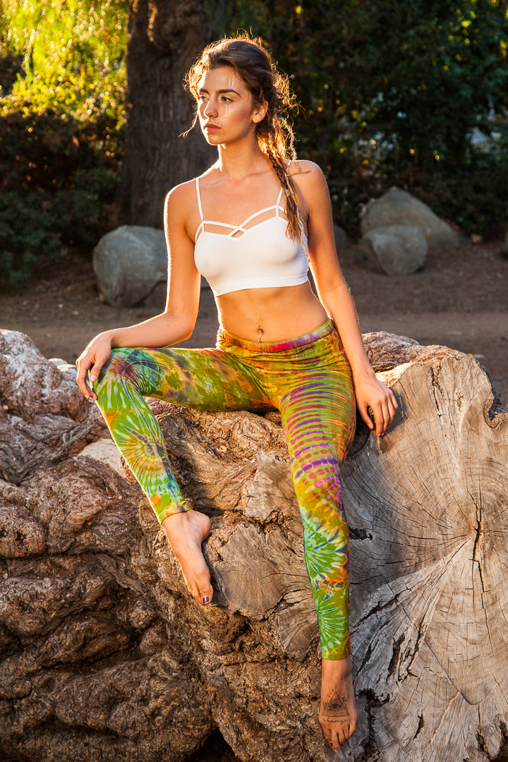 Tie Dye Leggings in Green-The High Thai-The High Thai-Yoga Pants-Harem Pants-Hippie Clothing-San Diego