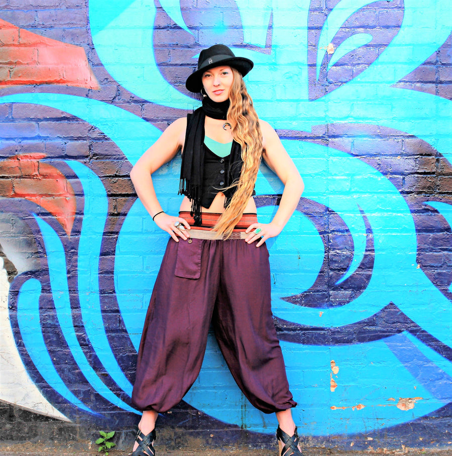 Women's Aladdin Pants in Royal Purple-The High Thai-The High Thai-Yoga Pants-Harem Pants-Hippie Clothing-San Diego
