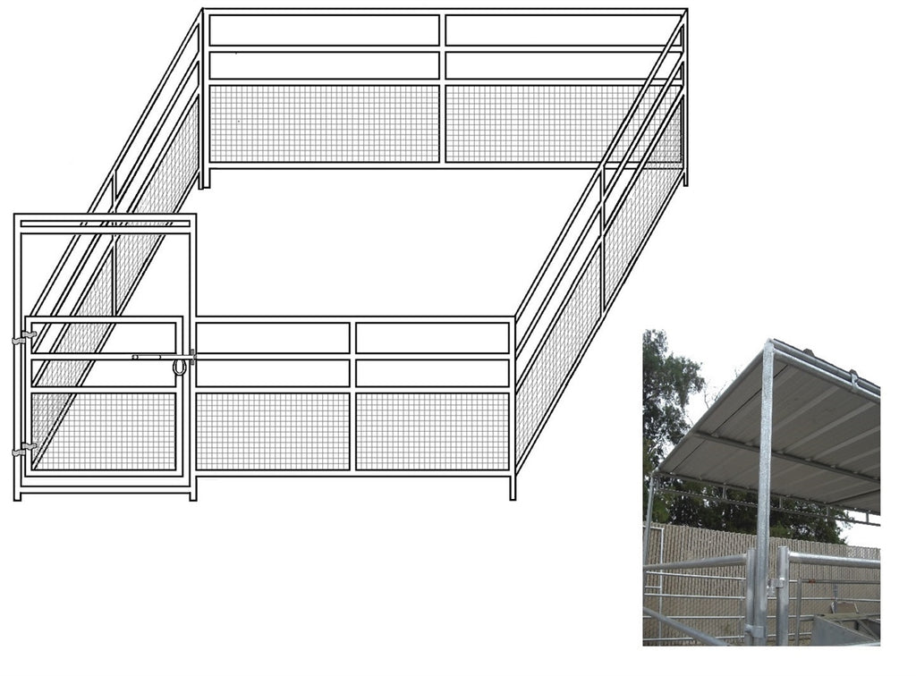 16'W x 16'D 1-5/8 4-Rail Mare & Foal Horse Complete Corral with 8' x 16' Trussed Cover