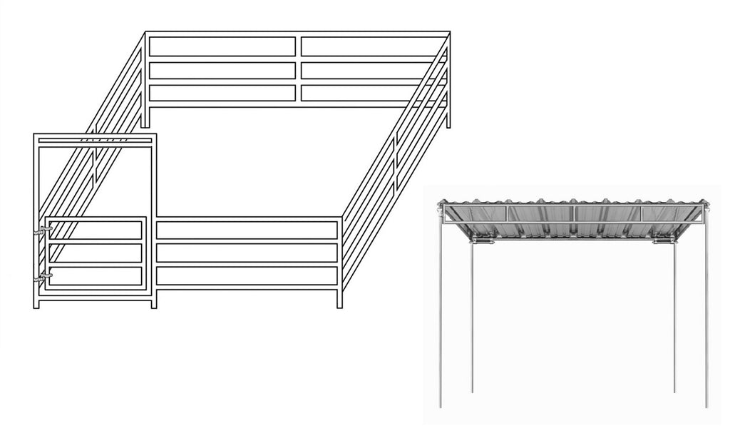 12'W x 12'D Mini Horse Complete Corral 4-Rail 1-3/8 with 6' x 12' Trussed Cover