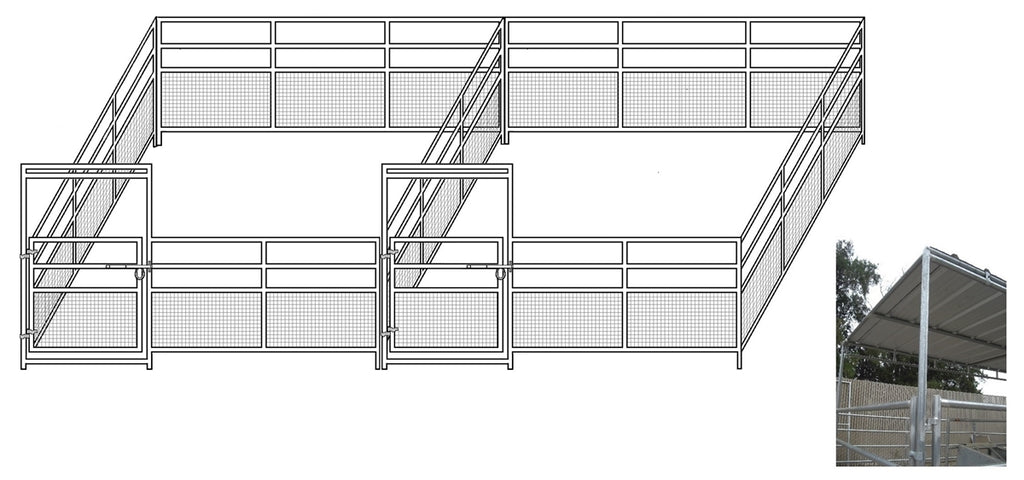 24'W x 24'D 1-5/8 4-Rail Mare & Foal Horse Complete Corral Dual with 8' x 24' Trussed Cover