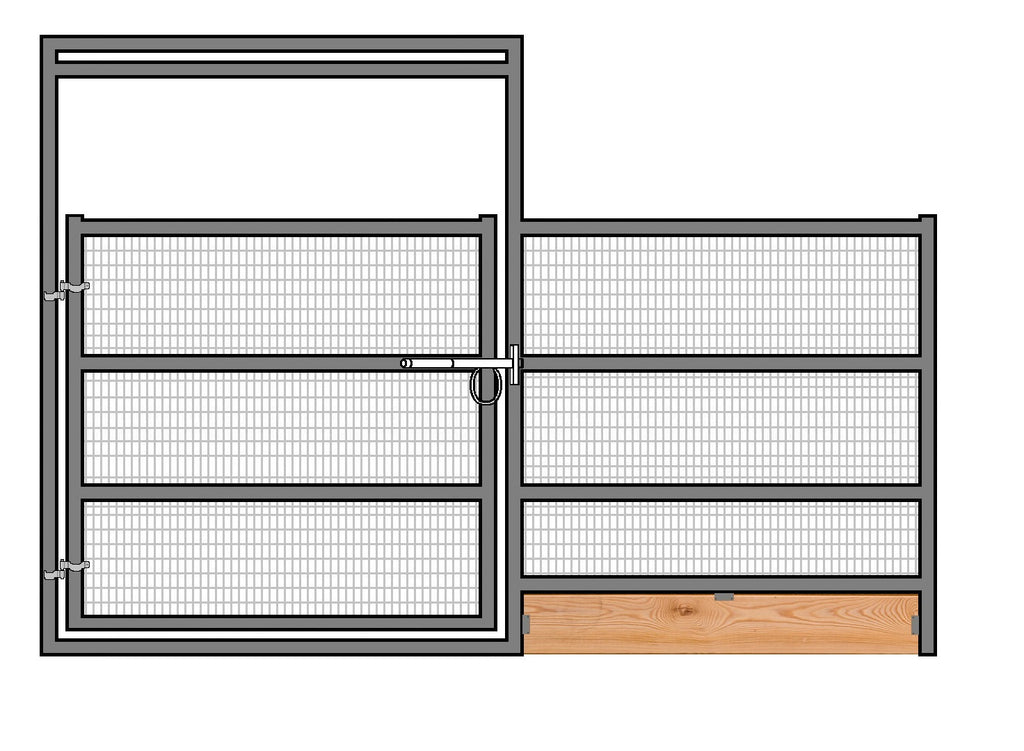 12'W x 6'H Welded Wire Corral Panel W/ Gate 4-Rail 1-7/8 W/ Wood Base