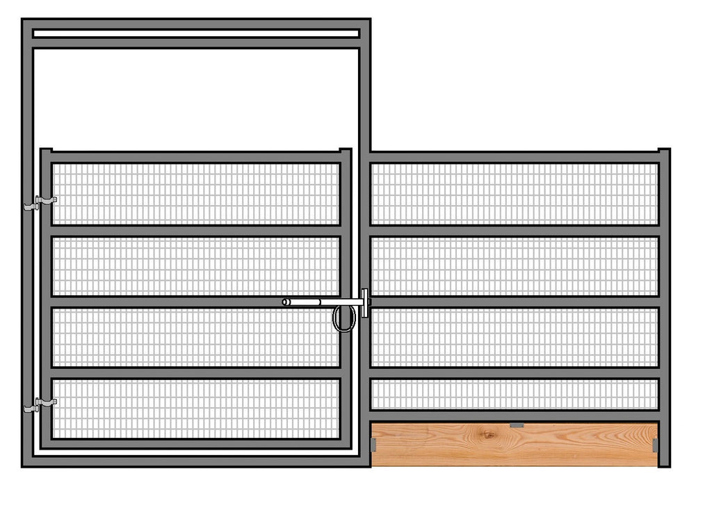 12'W x 6'H Welded Wire Corral Panel W/ Gate 5-Rail 1-7/8 W/ Wood Base