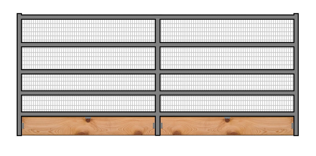 12'W x 6'H Welded Wire Corral Panel 5-Rail 1-5/8 W/ Wood Base