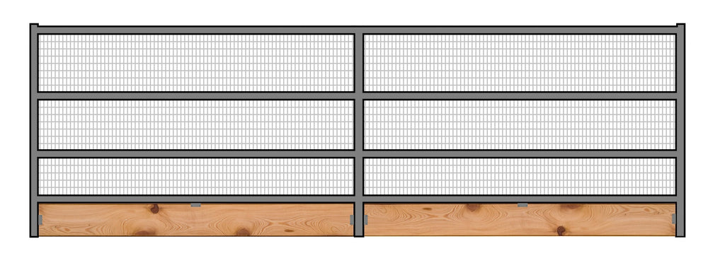 16'W x 6'H Welded Wire Corral Panel 4-Rail 1-5/8 W/ Wood Base