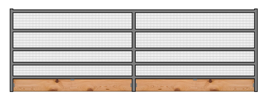 16'W x 6'H Welded Wire Corral Panel 5-Rail 1-5/8 W/ Wood Base