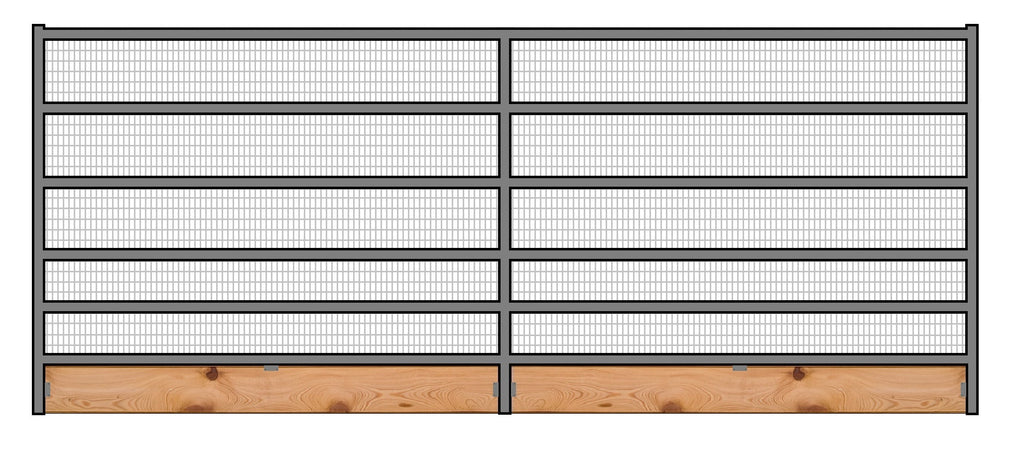 16'W x 6'H Welded Wire Corral Panel 6-Rail 1-5/8 W/ Wood Base