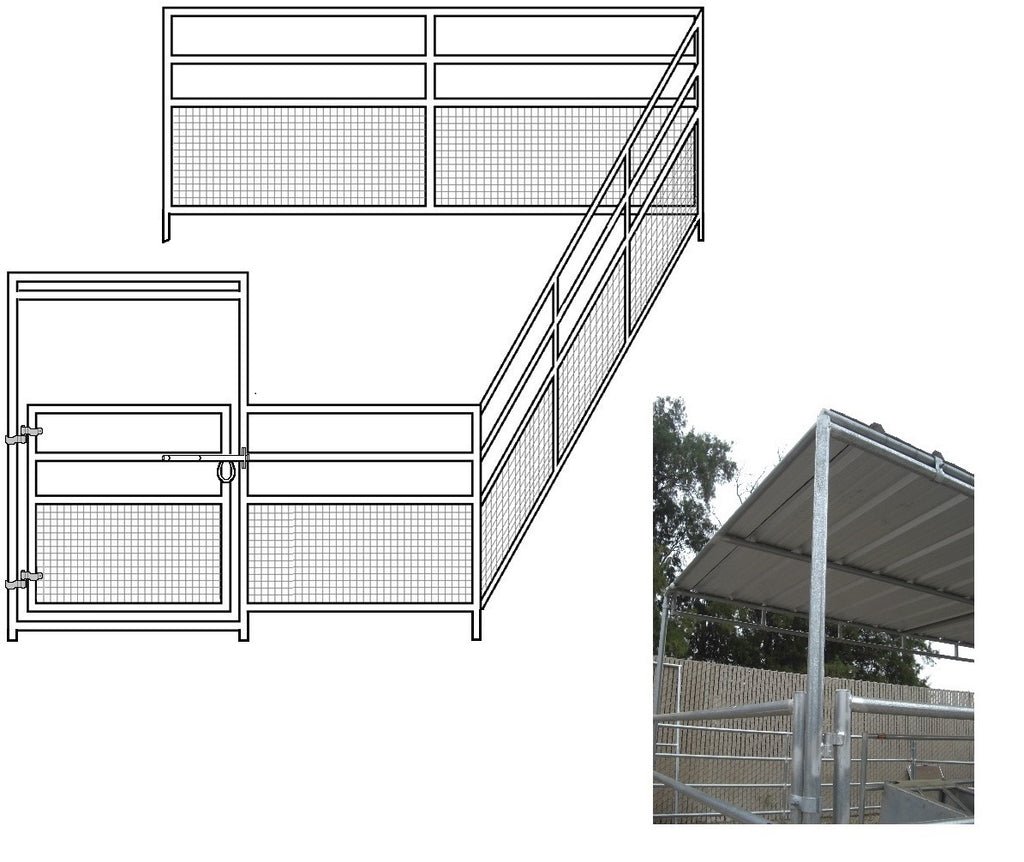 12'W x 24'D 1-7/8 4-Rail Mare & Foal Horse Corral Add-On with 8' x 12' Trussed Cover