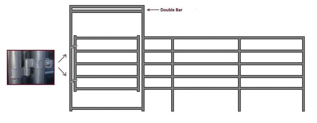 24'W x 5'H Corral Gate 5-Rail 1-7/8