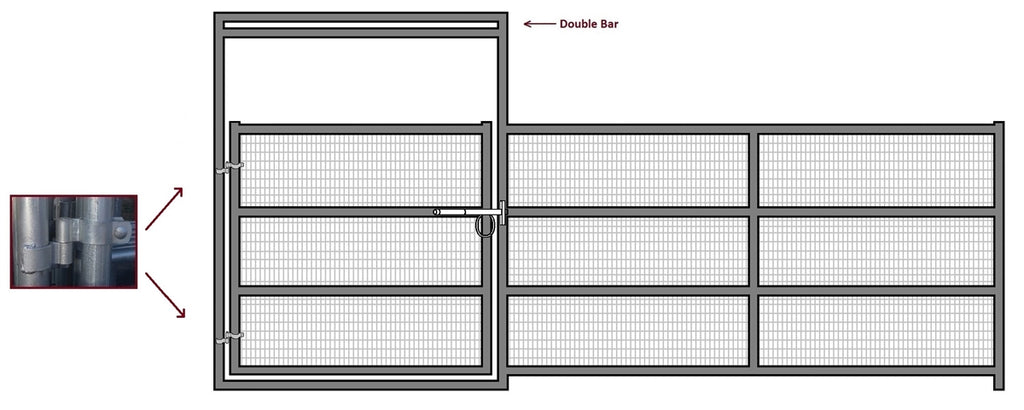 16'W x 6'H Corral Gate Welded Wire Panel 4-Rail 1-7/8