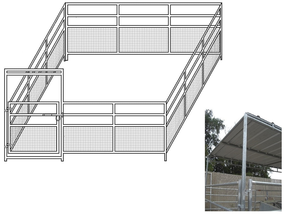 24'W x 24'D 1-7/8 4-Rail Mare & Foal Horse Complete Corral with 8' x 24' Trussed Cover