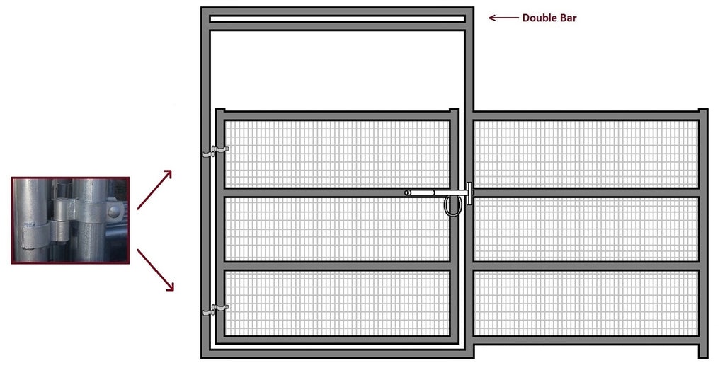 12'W x 6'H Corral Gate Welded Wire Panel 4-Rail 1-5/8