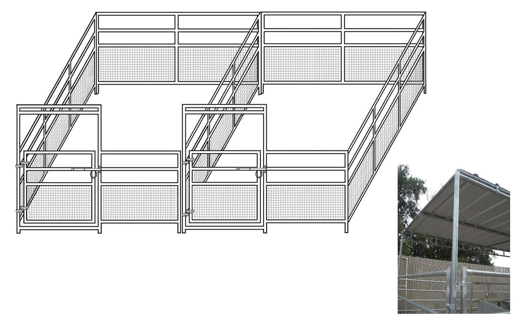 12'W x 24'D 1-5/8 4-Rail Mare & Foal Horse Complete Corral Dual with 8' x 24' Trussed Cover