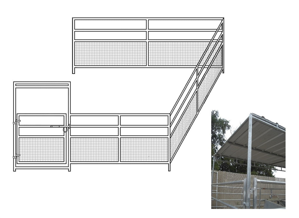 16'W x 16'D 1-5/8 4-Rail Mare & Foal Horse Corral Add- On with 8' x 16' Trussed Cover