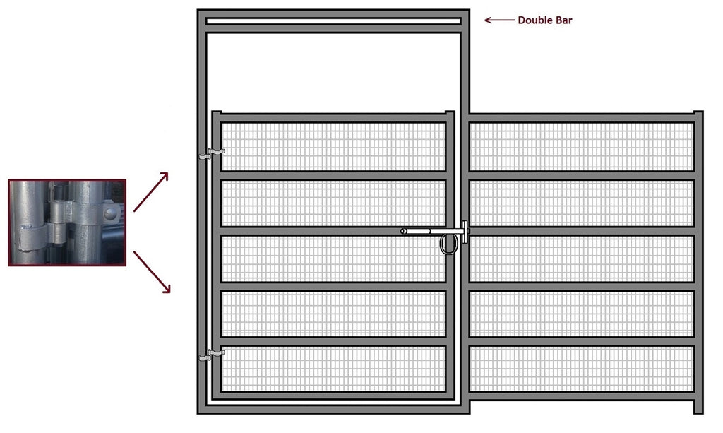 12'W x 6'H Corral Gate Welded Wire Panel 6-Rail 1-5/8