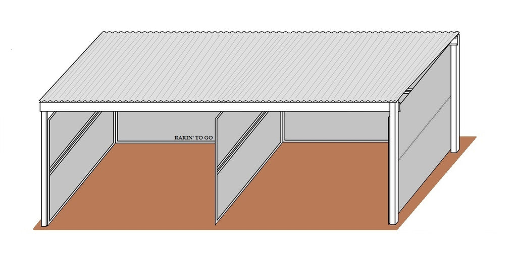 12'D x 12'W Solid Wall Stalls No Gate with 12' x 26' Cover Dual Kit