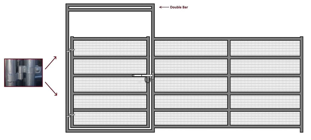16'W x 6'H Corral Gate Welded Wire Panel 6-Rail 1-5/8