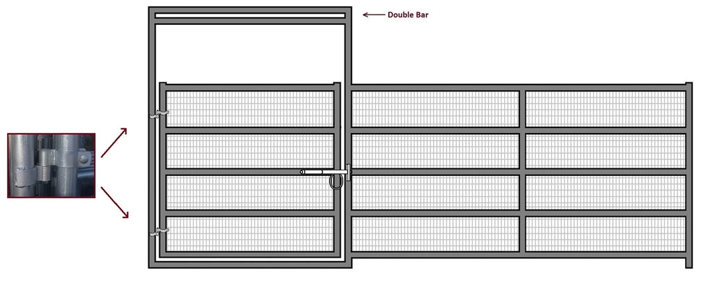 16'W x 6'H Corral Gate Welded Wire Panel 5-Rail 1-5/8