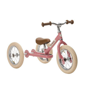 Trybike Steel Pink Vintage Edition, With Chrome Parts And Cream Tyres