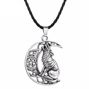Celtic Moon Howling Wolf Necklace