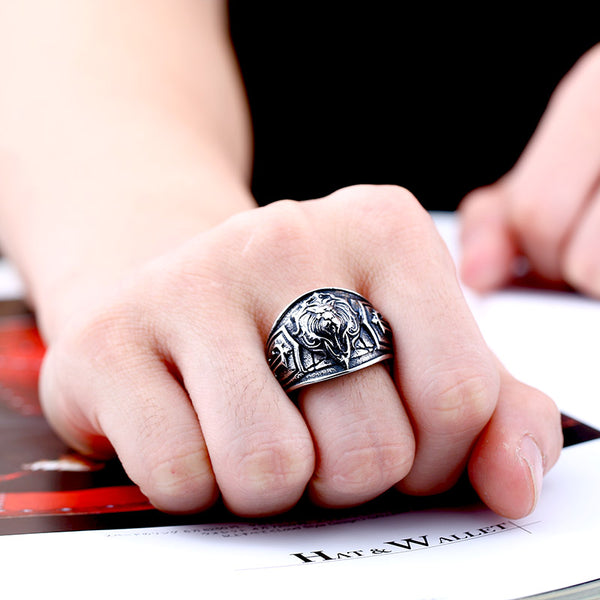 Luxurious Lion Head Stainless Steel Ring