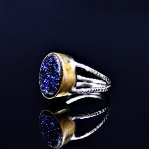 Silver Ring Adorned With Blue Druzy Stone