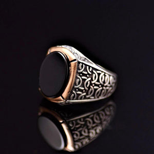 Black Onyx Stone Silver Ring Adorned With Engraved Geometrical Shapes Right
