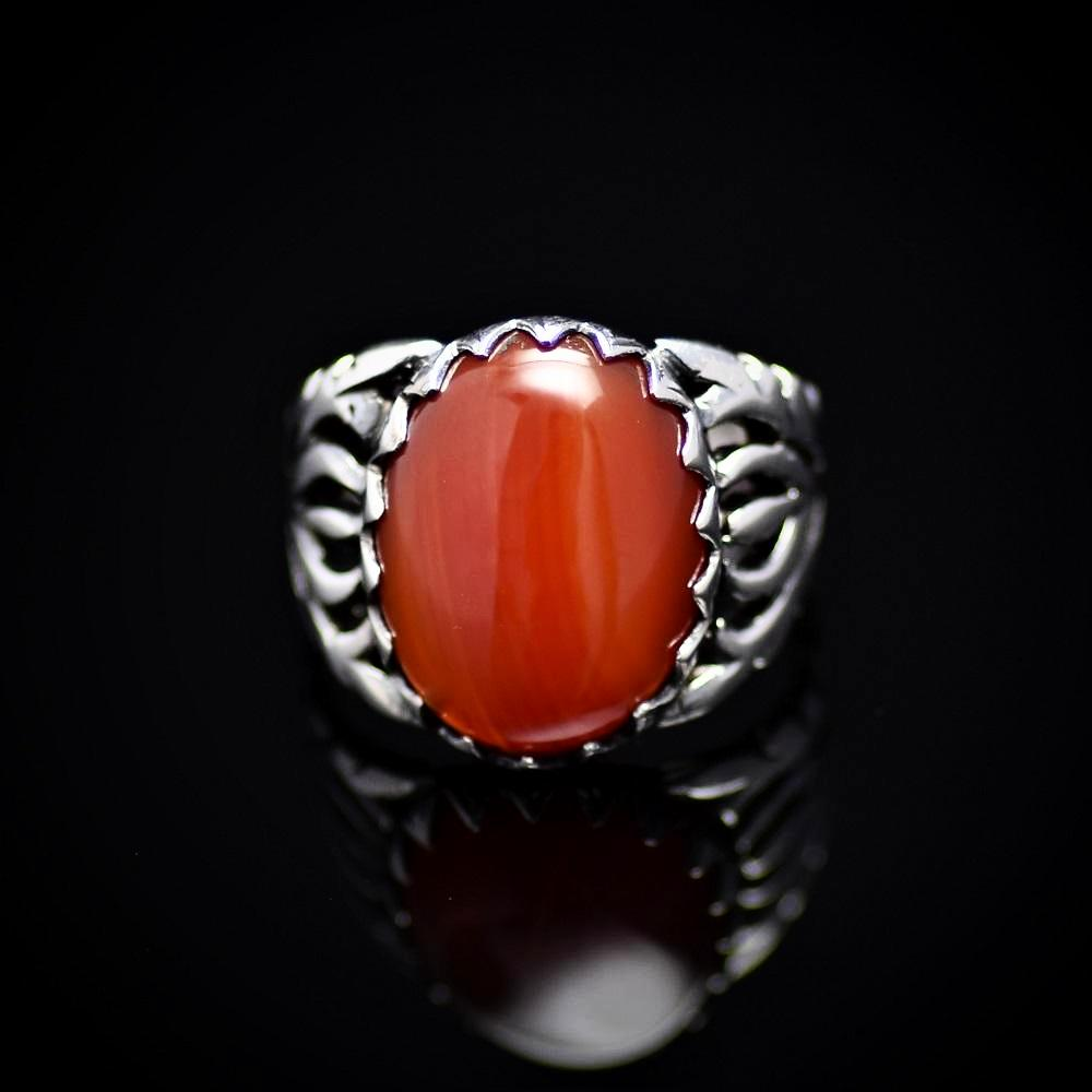 Charming Silver Ring For Men Adorned With Red Agate Stone Front