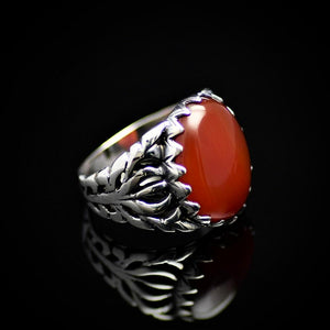 Charming Silver Ring For Men Adorned With Red Agate Stone Left