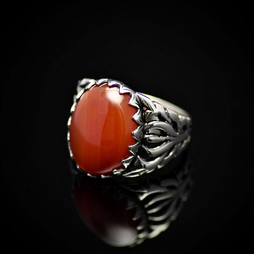 Charming Silver Ring For Men Adorned With Red Agate Stone Right