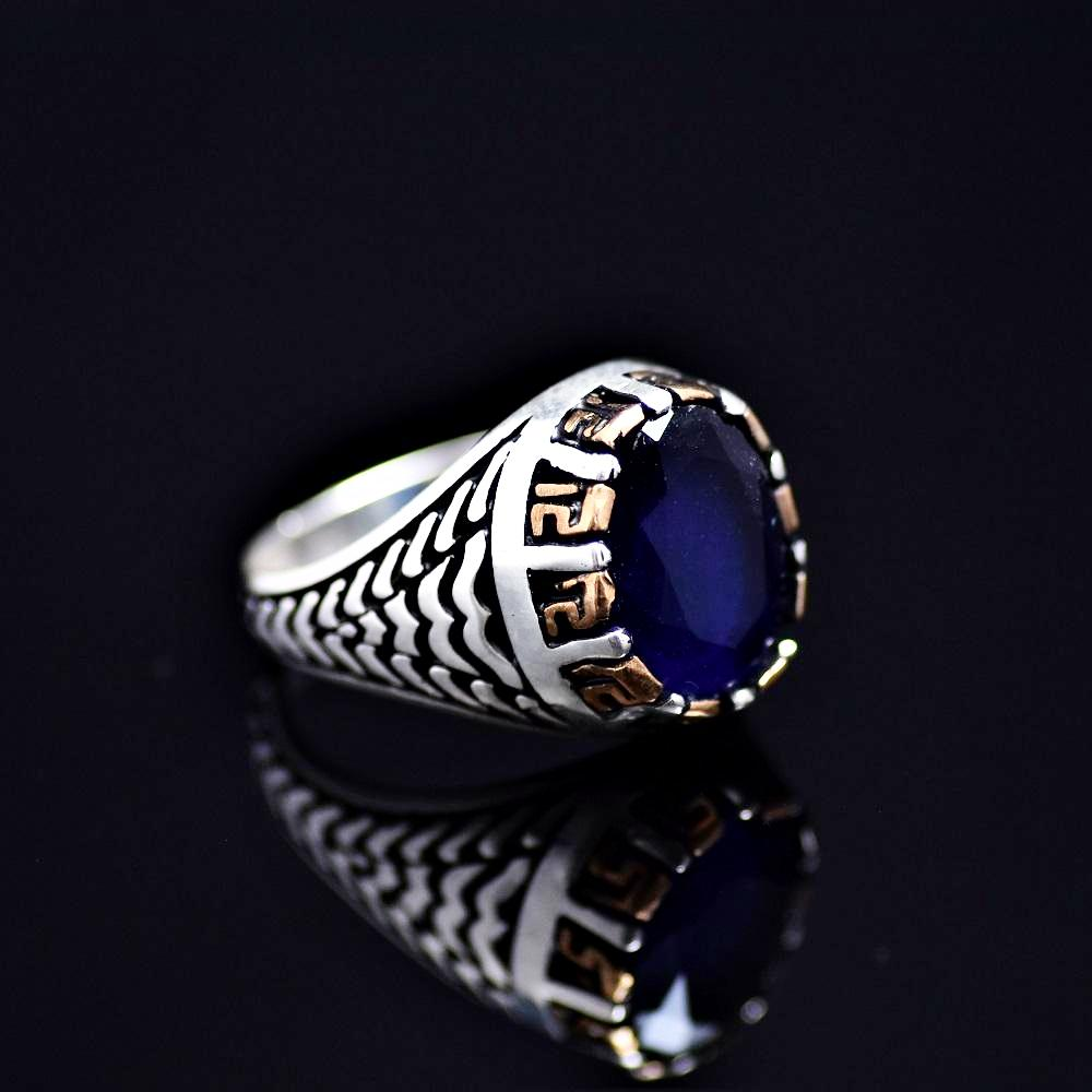 Elegant 925 Sterling Silver Ring Adorned With Lab Created Sapphire Left