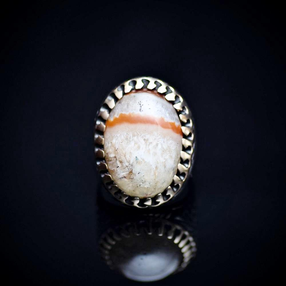 One Of A Kind Ring Adorned With Natural Striped Agate Stone Front