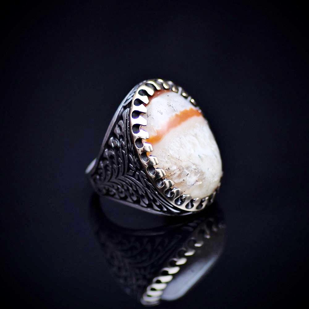 One Of A Kind Ring Adorned With Natural Striped Agate Stone Left