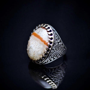 One Of A Kind Ring Adorned With Natural Striped Agate Stone Right