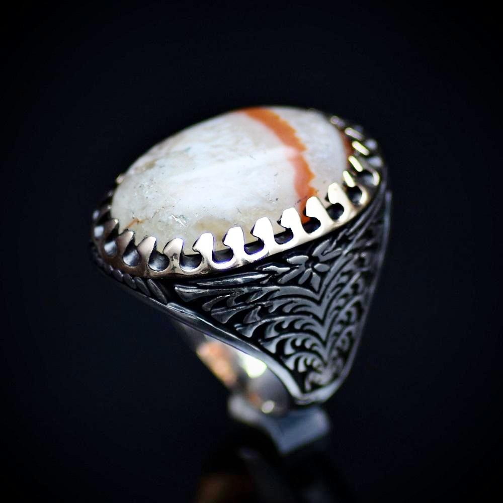 One Of A Kind Ring Adorned With Natural Striped Agate Stone