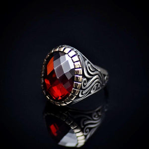 Stunning Silver Ring With A Big Facet Cut Garnet Stone Right