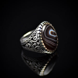 Top Of The Line Silver Ring Adorned With Black Banded Agate Stone Left