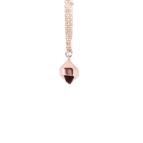 HEXAGONAL CAST CRYSTAL NECKLACE | ROSE GOLD VERMEIL - AngelaMonacojewelry