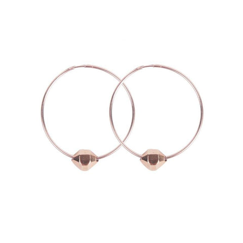 HEXAGONAL CRYSTAL HOOPS | ROSE GOLD VERMEIL - AngelaMonacojewelry